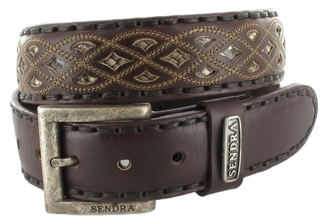 Sendra Boots 8680 Brown Exotic Ledergürtel - braun weiß