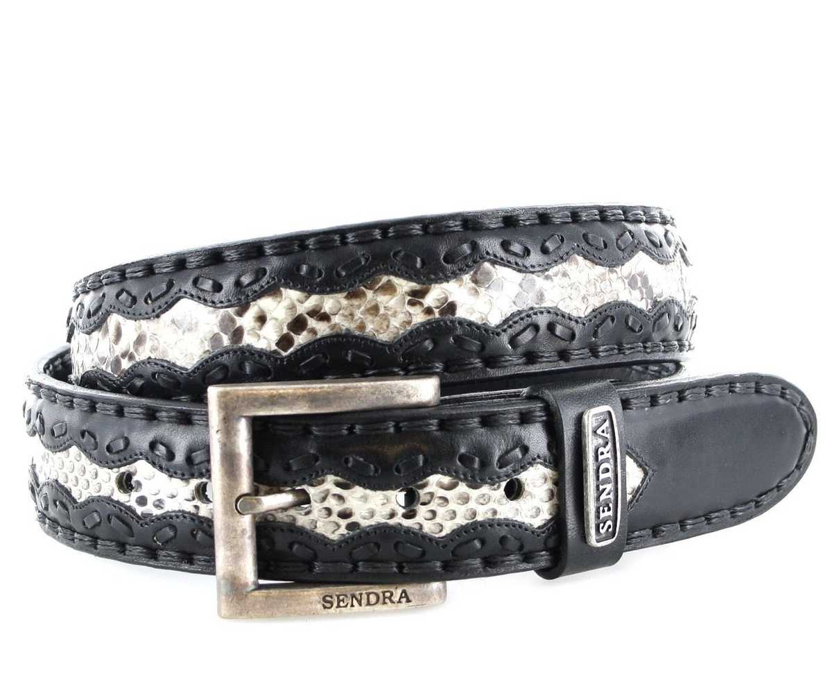 Sendra Boots 8347 Negro Natural Exotic  leather belt - black white