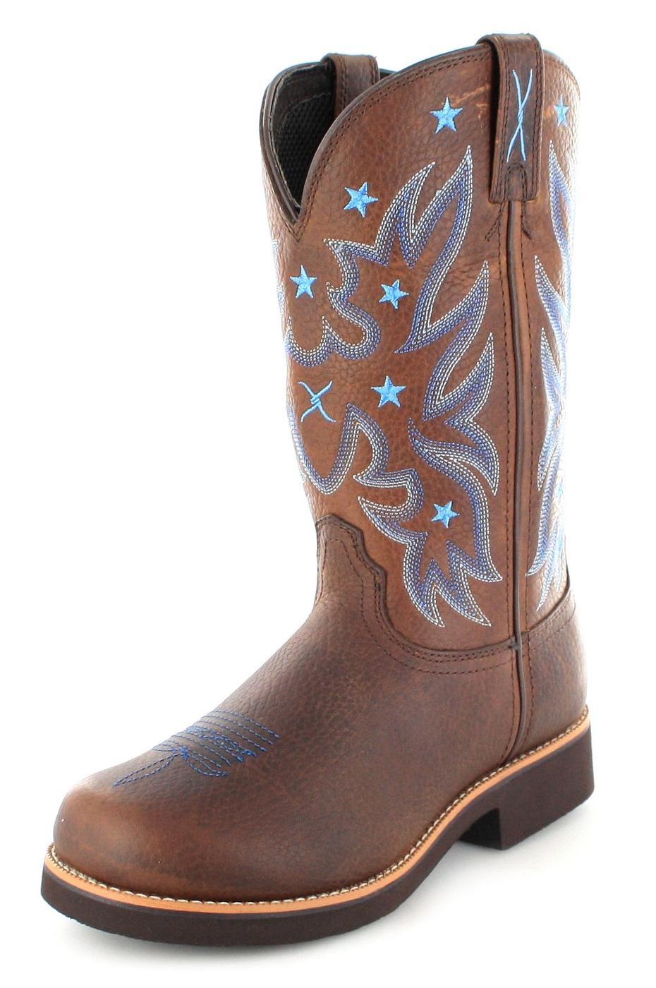 Twisted X Boots 1701 BARN BURNER Brown Pebble Damen Westernreitstiefel - dunkelbraun
