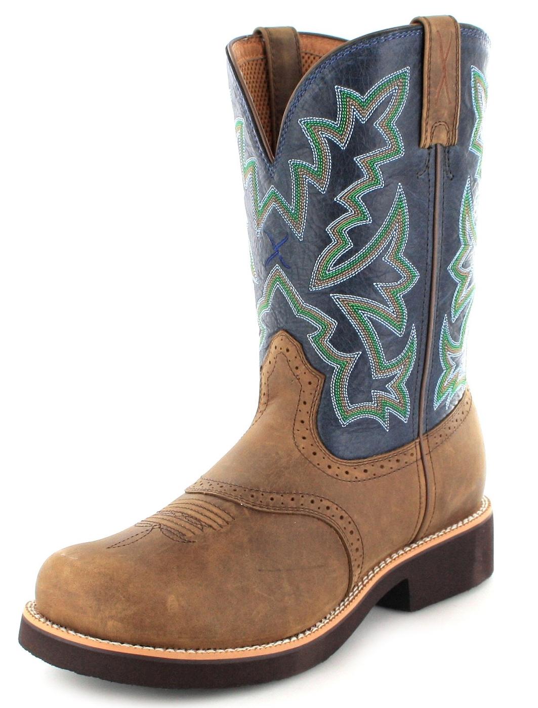 Twisted X Boots 1716 BARN BURNER Saddle Blue Herren Westernreitstiefel - braun blau