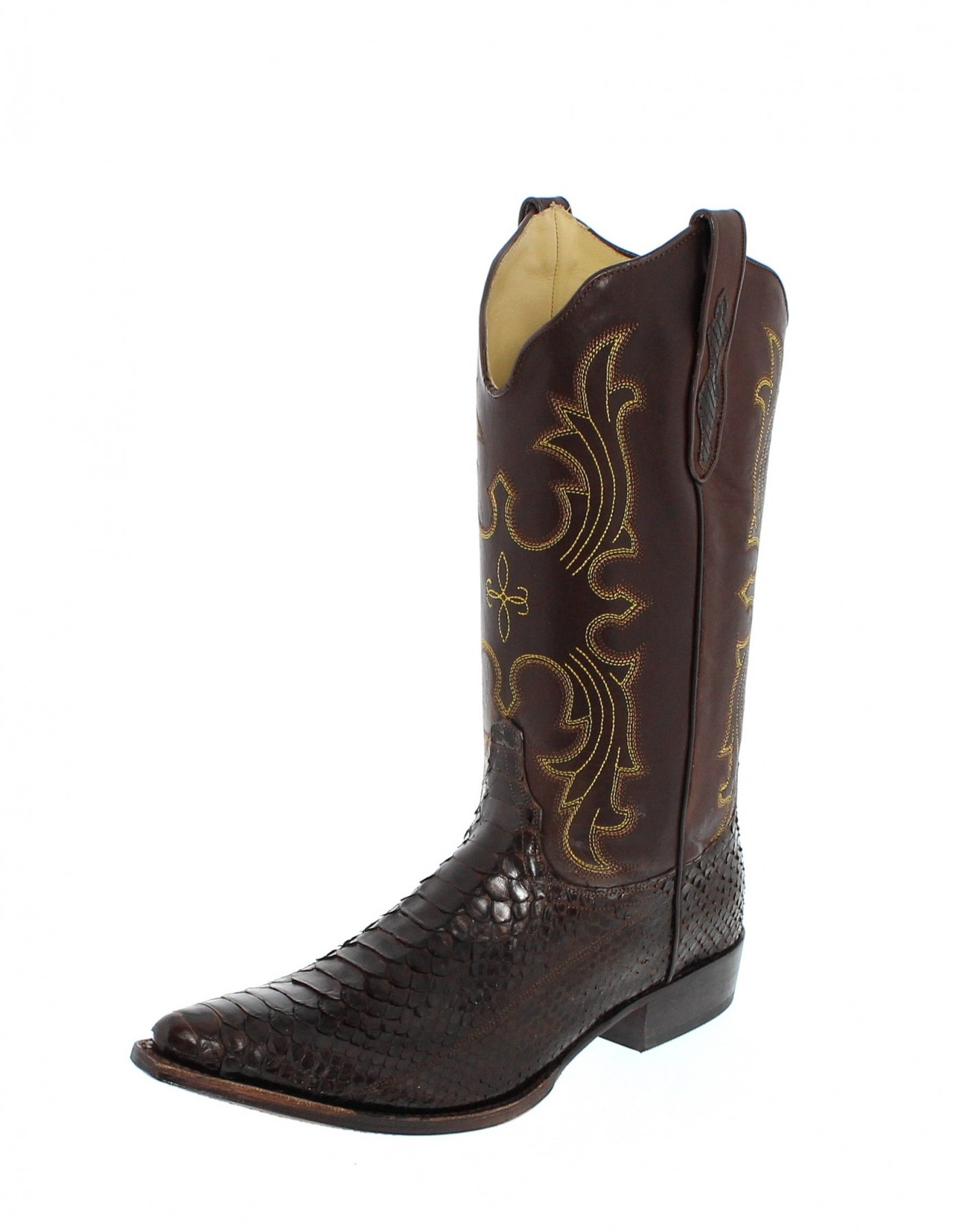 tony mora 1418 python marron exotic western boot - brown | fashion