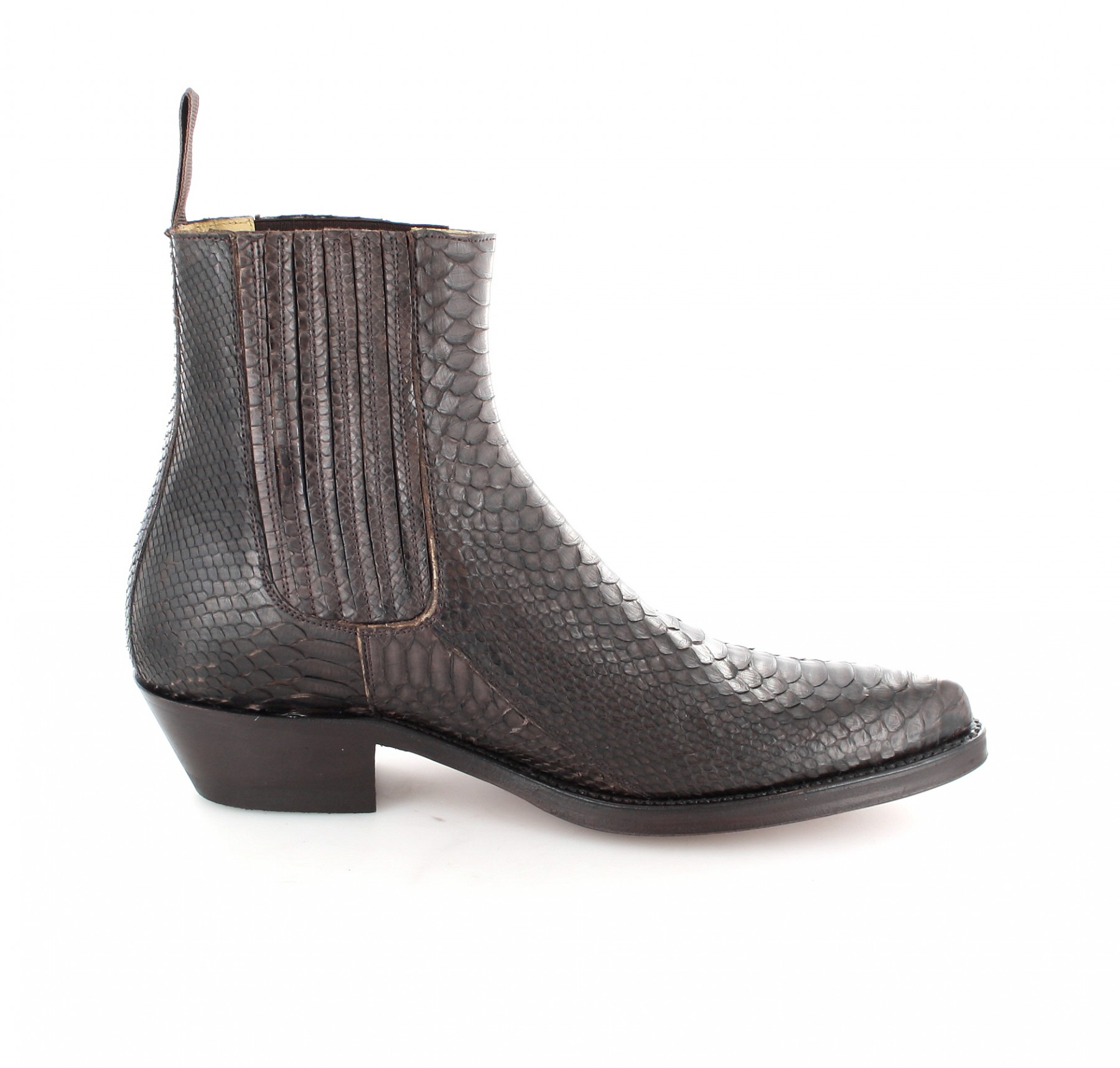 tony mora 621 python marron exotic western ankle boot - dark brown