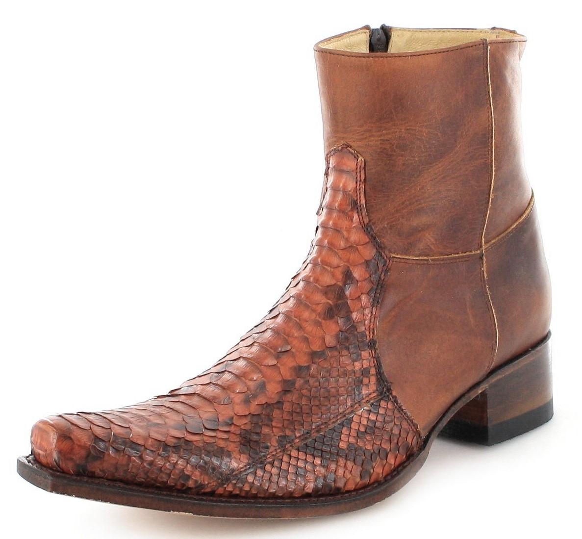 Sendra Boots 5701P Piton Peanut Exotic Westernstiefelette - braun