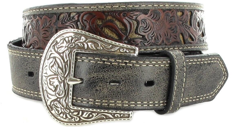Stetson 1031S  Black leather belt - grey