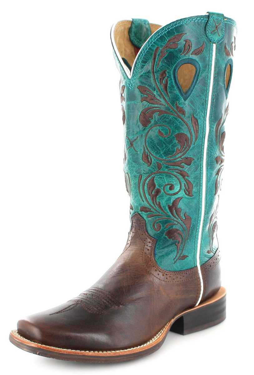 Twisted X Boots 1761 RUFF STOCK Chocolate Turquoise Westernreitstiefel - braun türkis