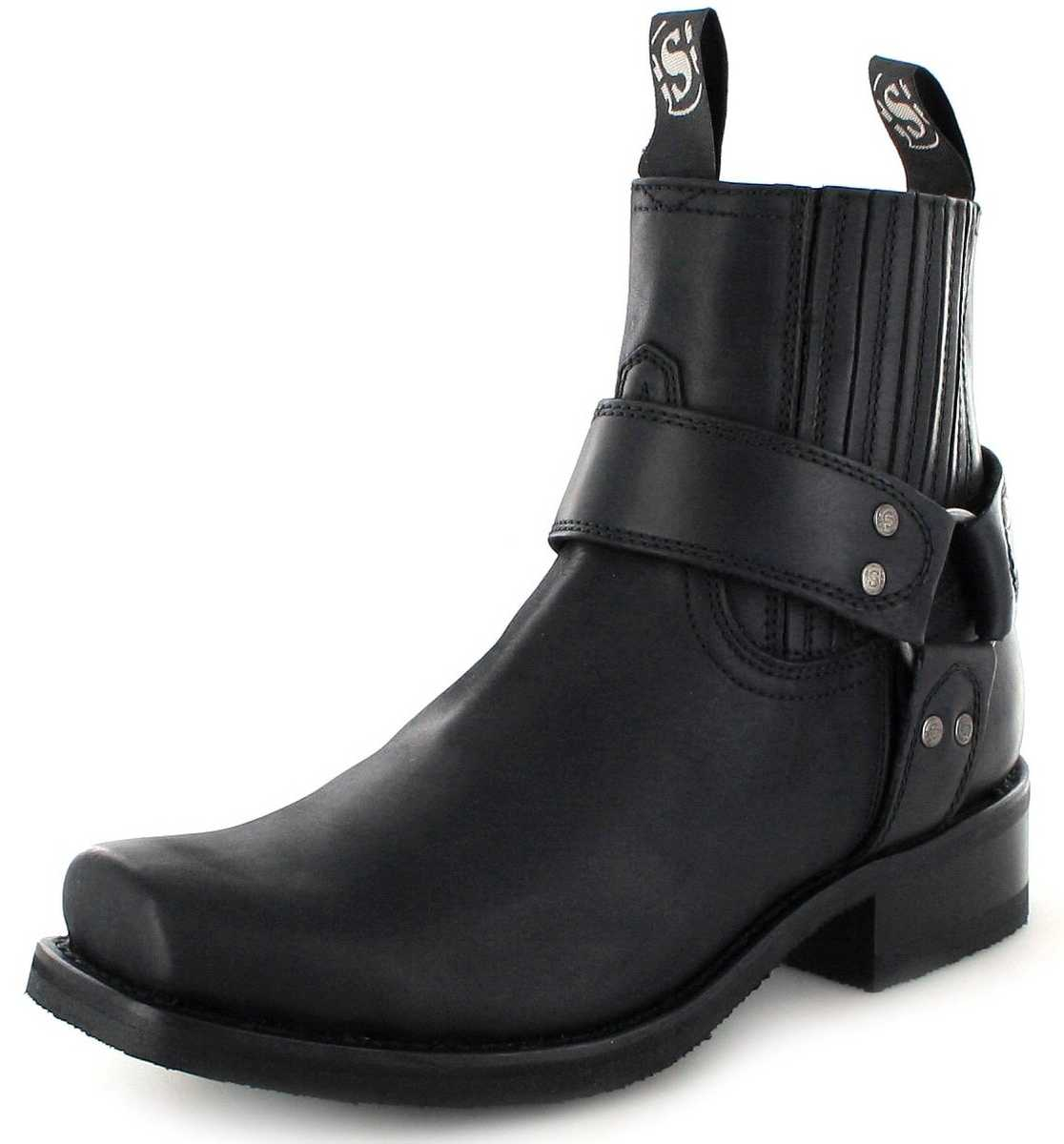 Sendra Boots 8286 Negro Biker Ankle Boot with rubber sole- Black