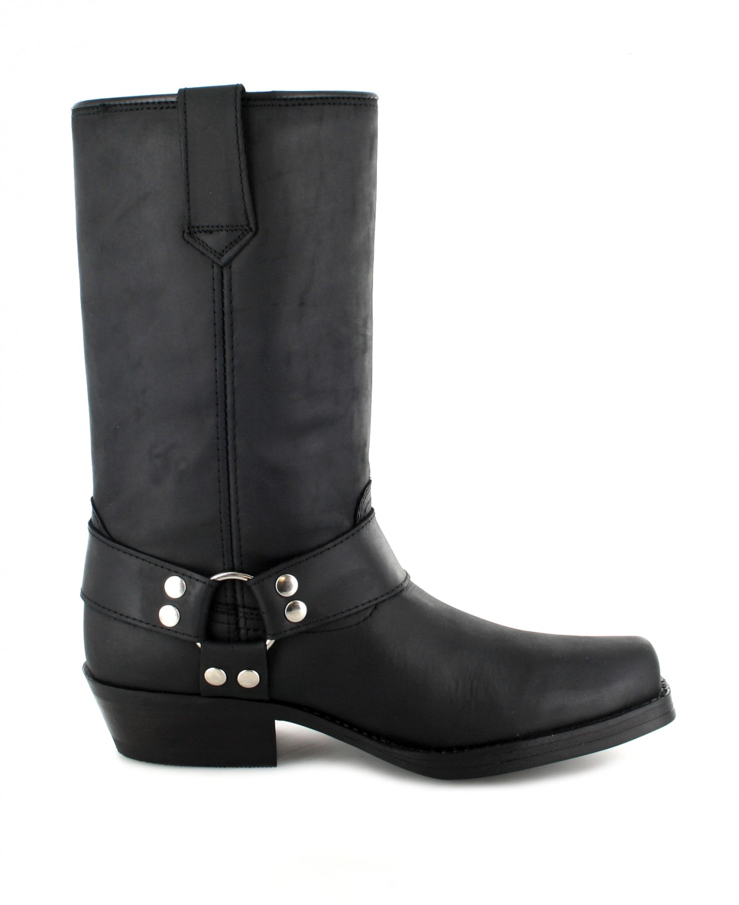 Fashion Boots BU2005 Black biker boot with rubber sole ...