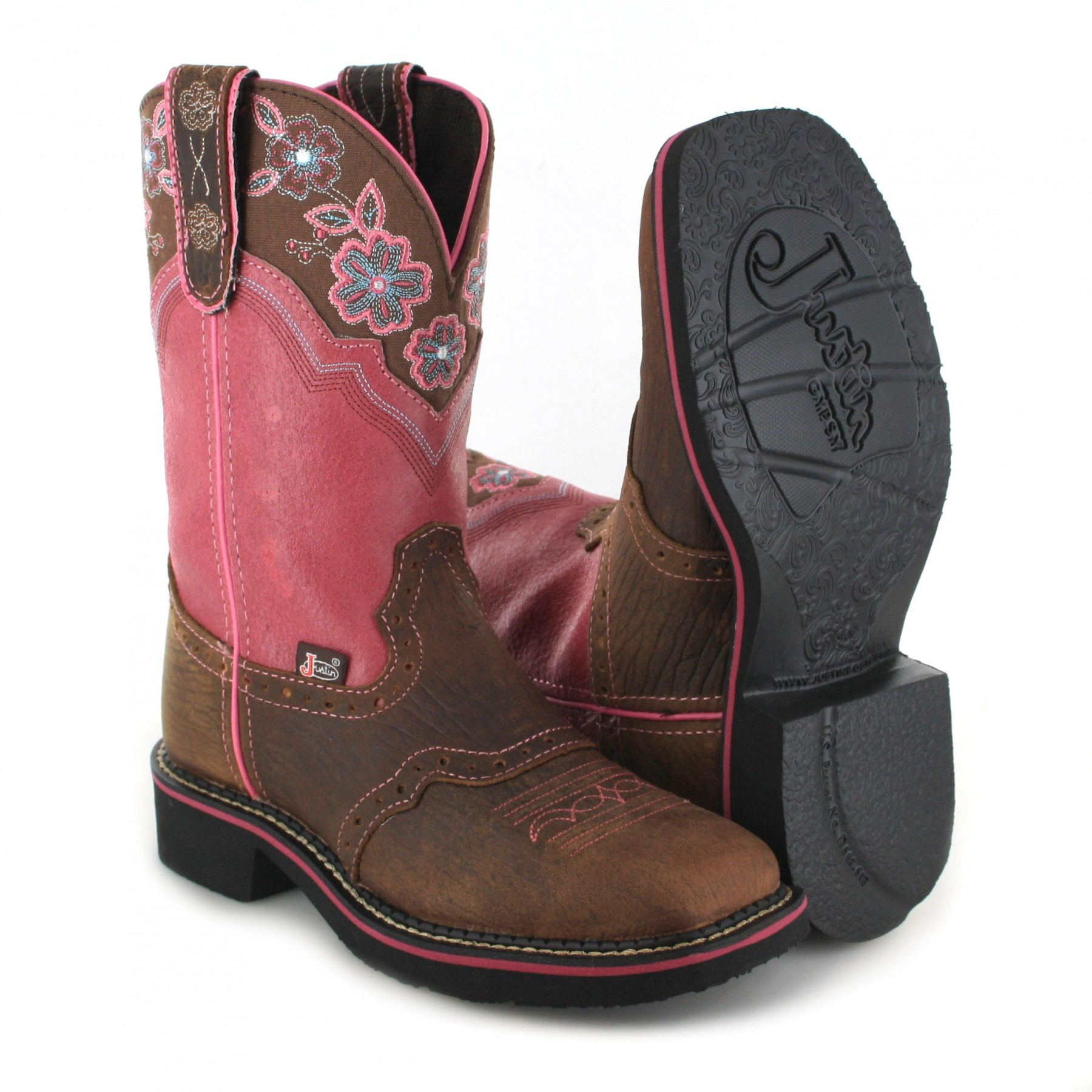 justin boots l9955 western boot brown pink