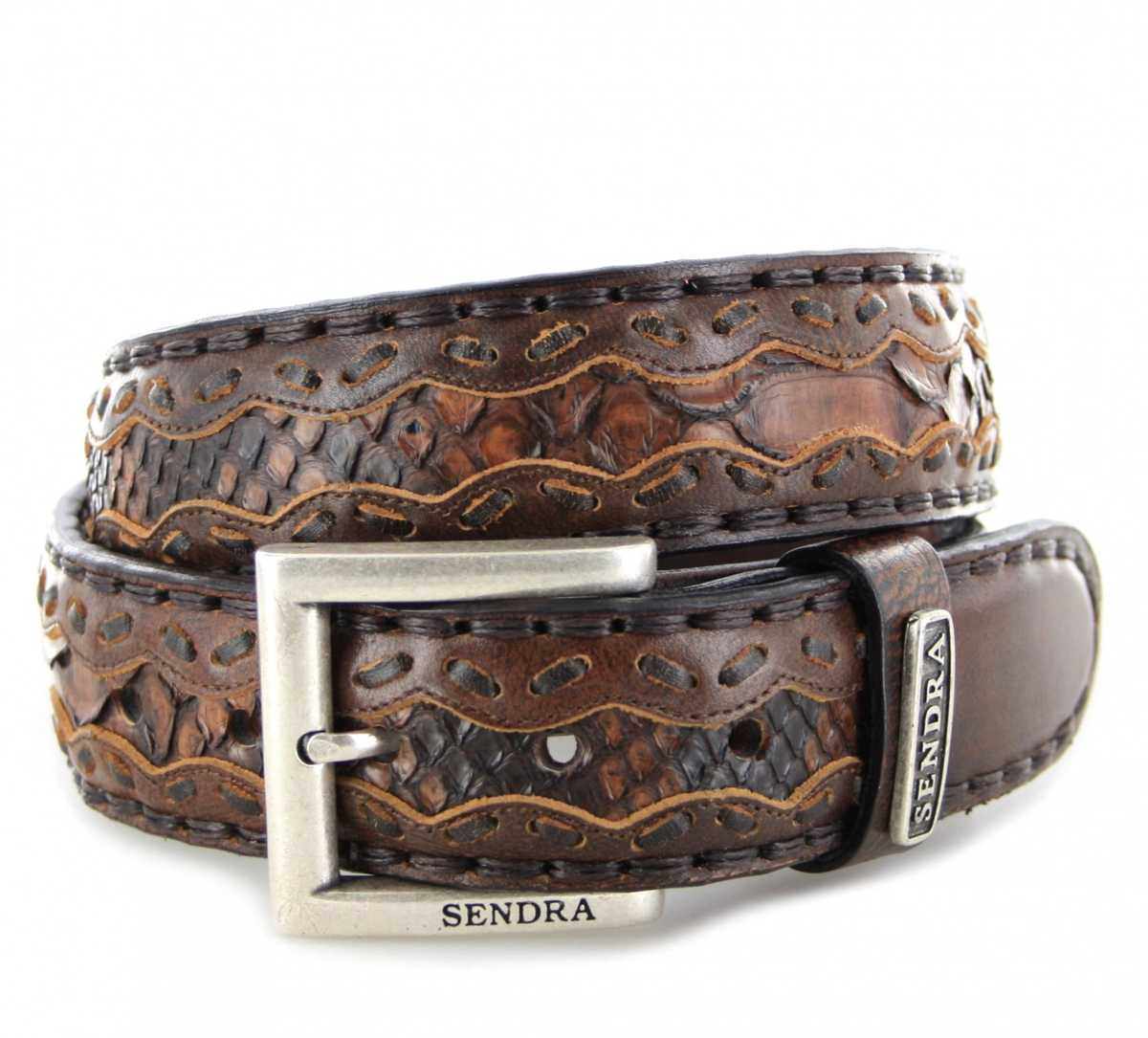 Sendra Boots 8347 Jacinto Pyton C540 Exotic Ledergürtel - dunkelbraun