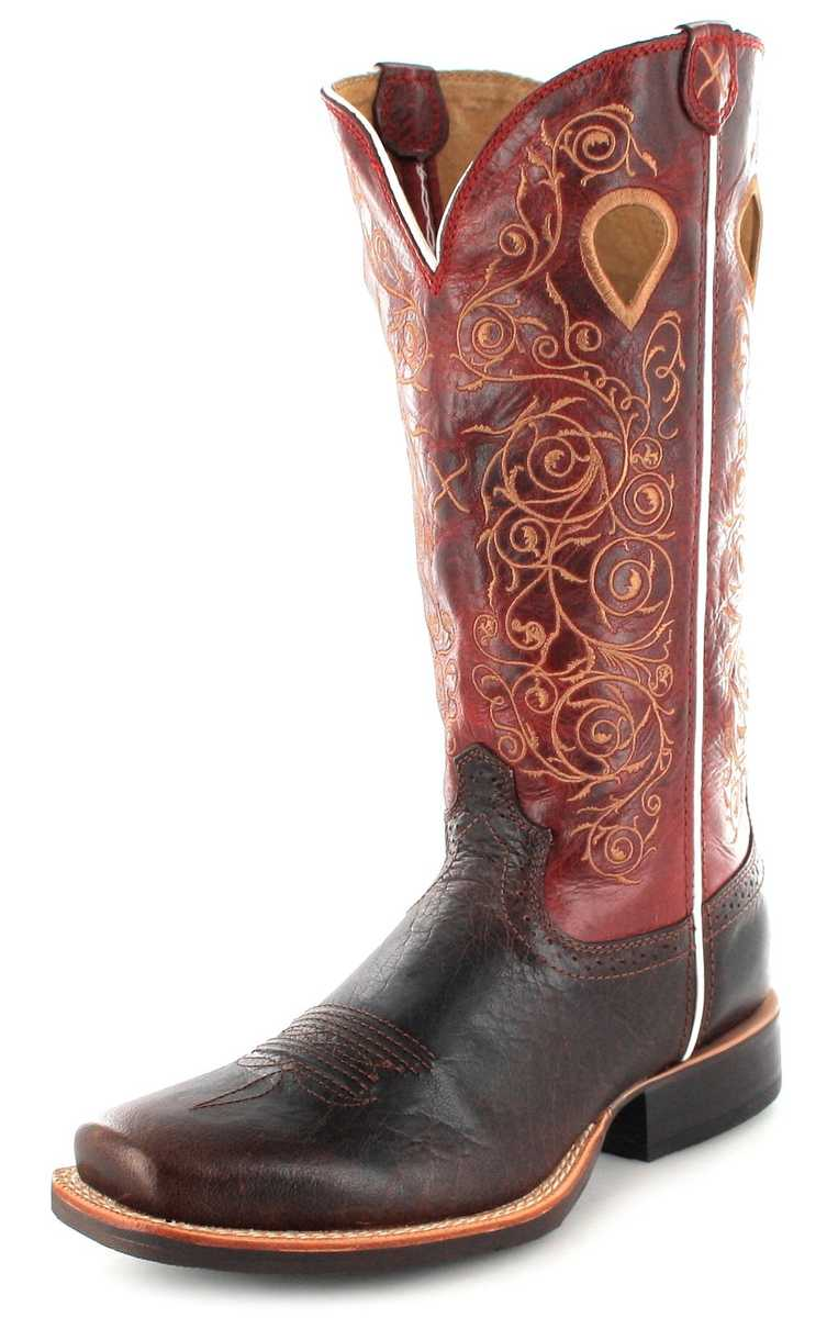 Twisted X Boots 1743 RUFF STOCK Saddle Red Damen Westernreitstiefel - braun rot