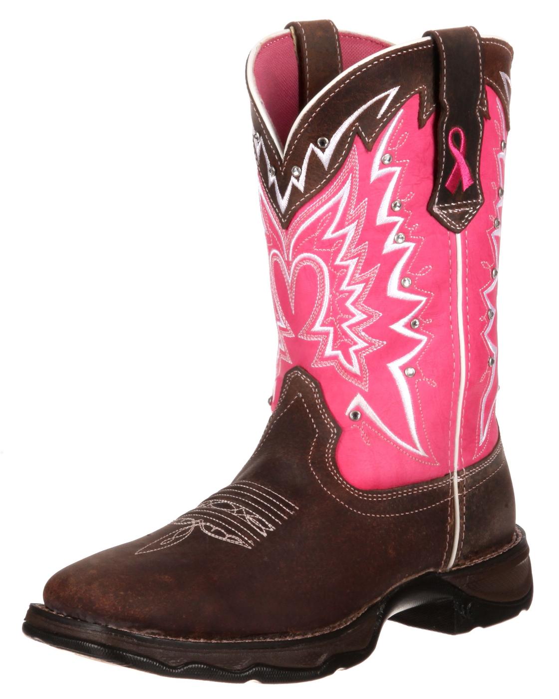 Durango Boots RD3557 PINK RIBBON Dark Brown Pink Westernreitstiefel - braun rosa