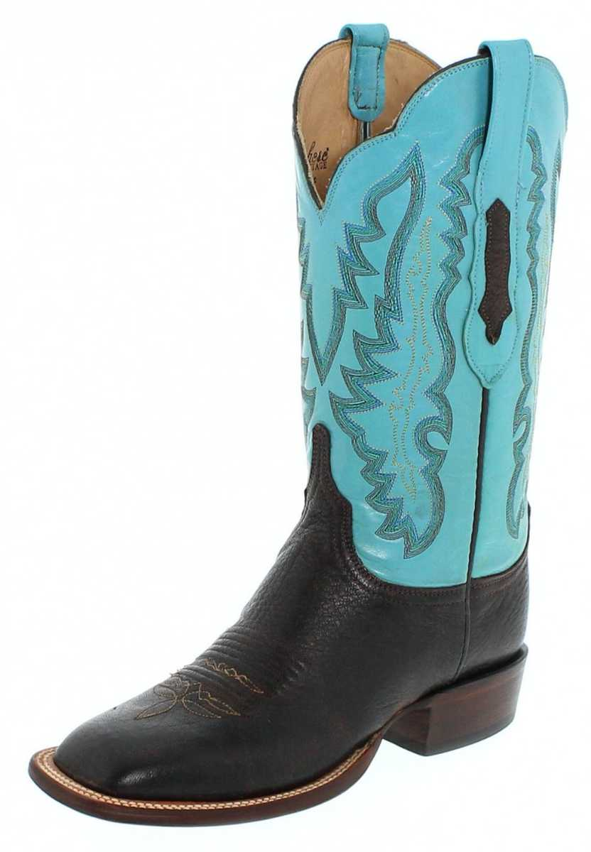Lucchese SUSANA HL5500 Chocolate Blue Westernridingboot - brown blue