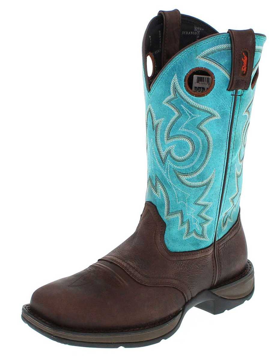 Durango Boots DWDB015 M Mahogany Teal Western riding boot - brown blue