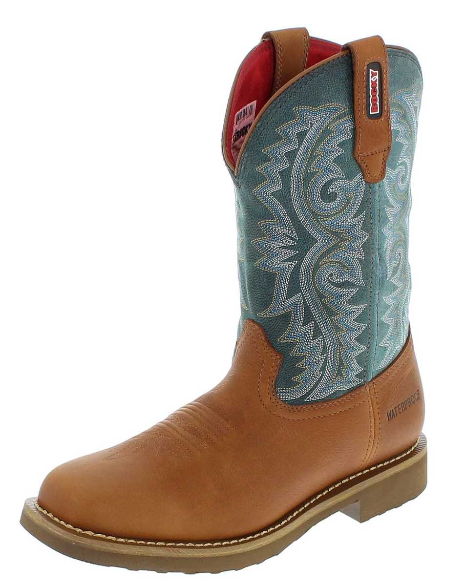 Rocky Boots BARNTEC RKW0127 M Brown Teal waterproof Western boots