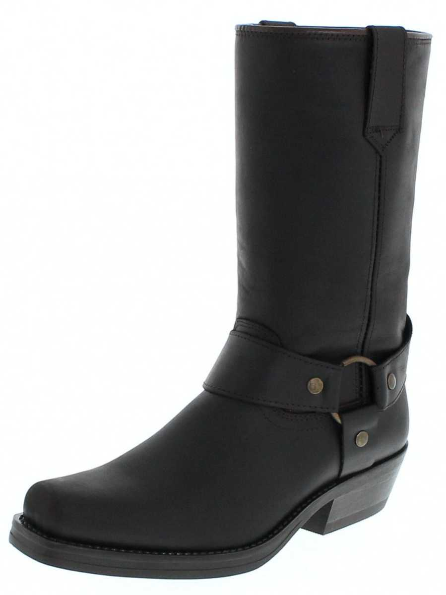 Fashion Boots BU2005 Black biker boot with rubber sole - brown