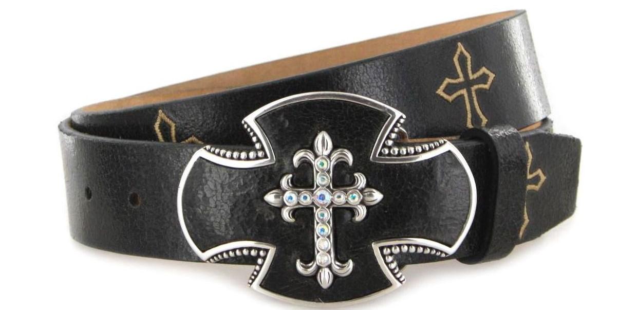 Justin Belts GATO CROSS C20803 Black Western belt