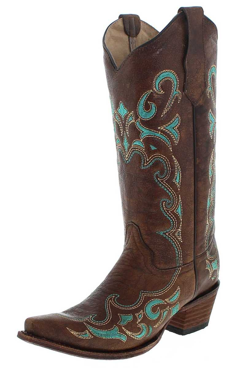 Circle G by Corral Boots L5193 LD Brown Turquoise Western boot - brown  turquoise