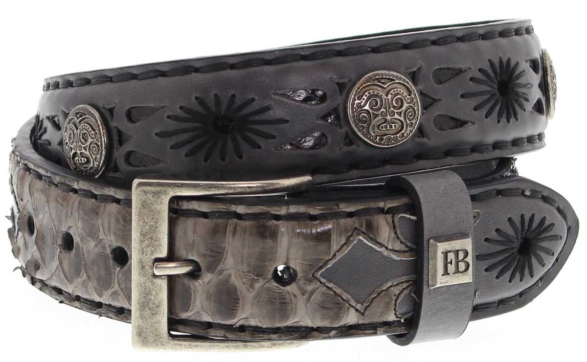 FB Fashion Boots FG5824 Gris Piton Gris Exotic Belt - grey