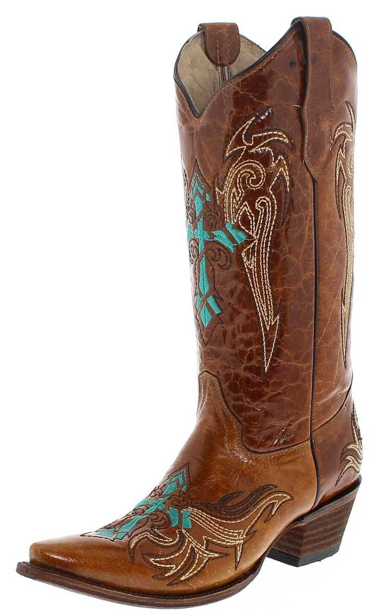 Circle G Boots L5104 Brown Turquoise women Western boot - brown turquoise