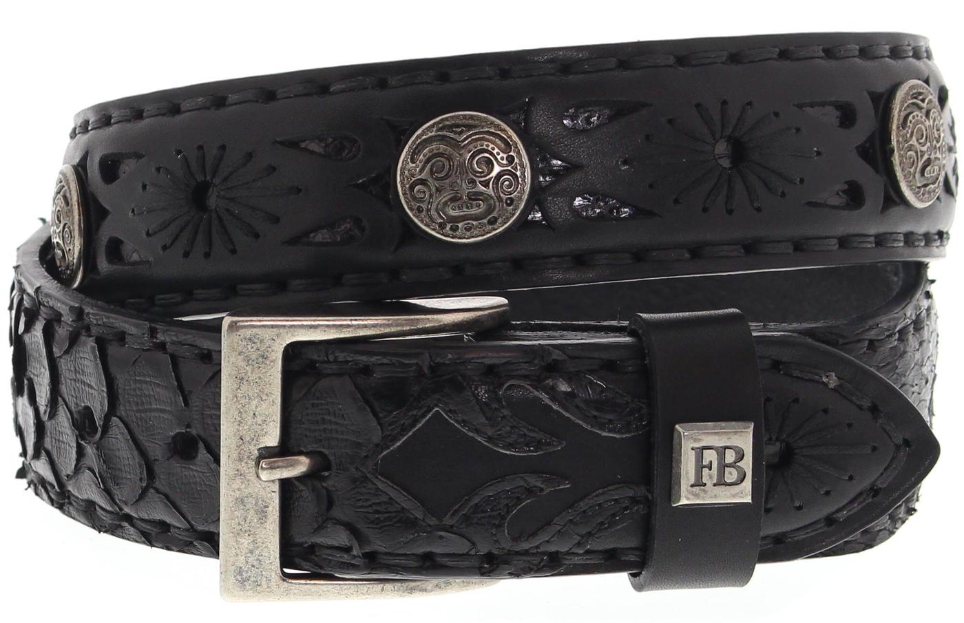 FB Fashion Boots FG5824 Negro Piton Negro Exotic Gürtel - schwarz
