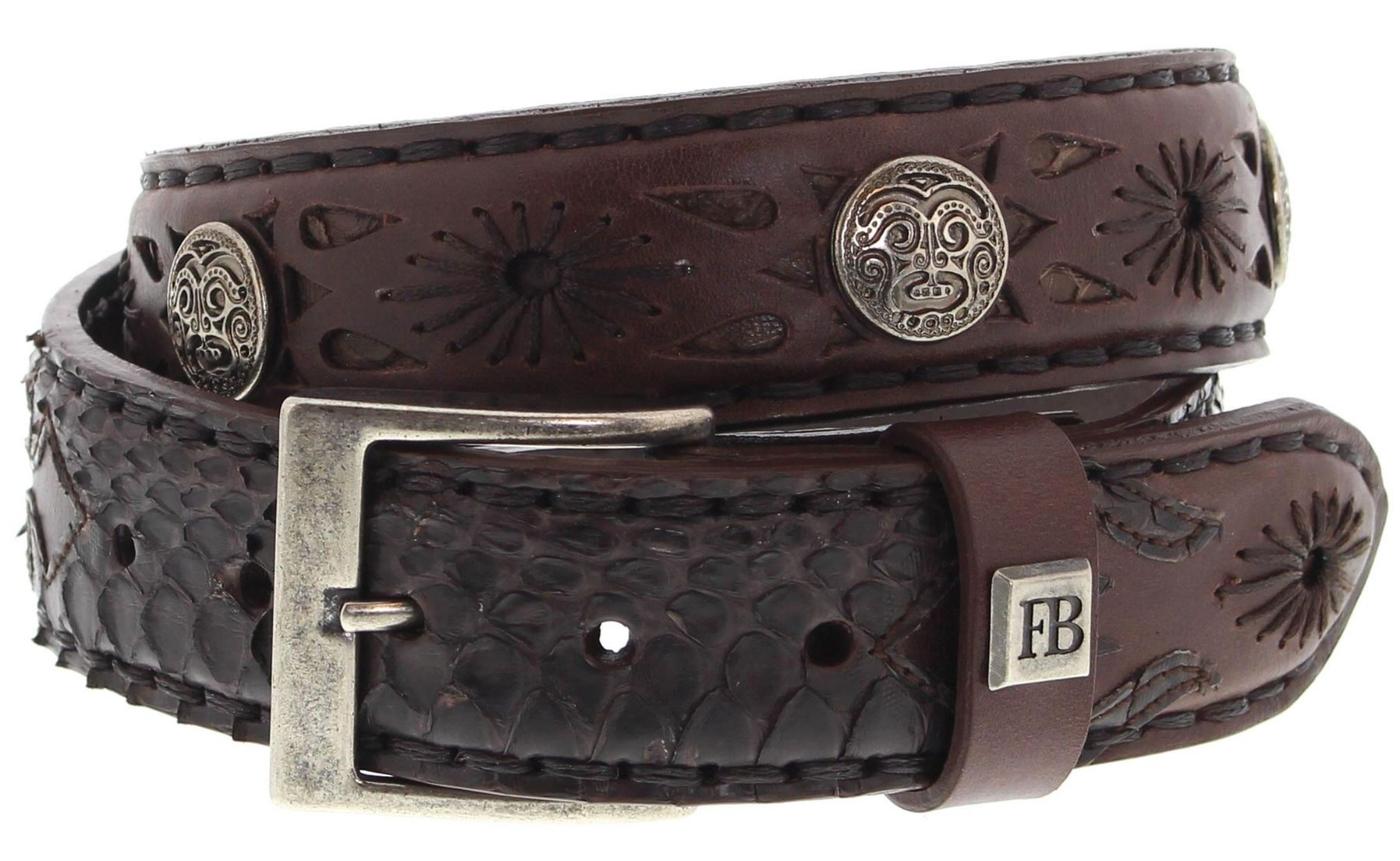 FB Fashion Boots FG5824 Marron Piton Marron Exotic Belt - brown