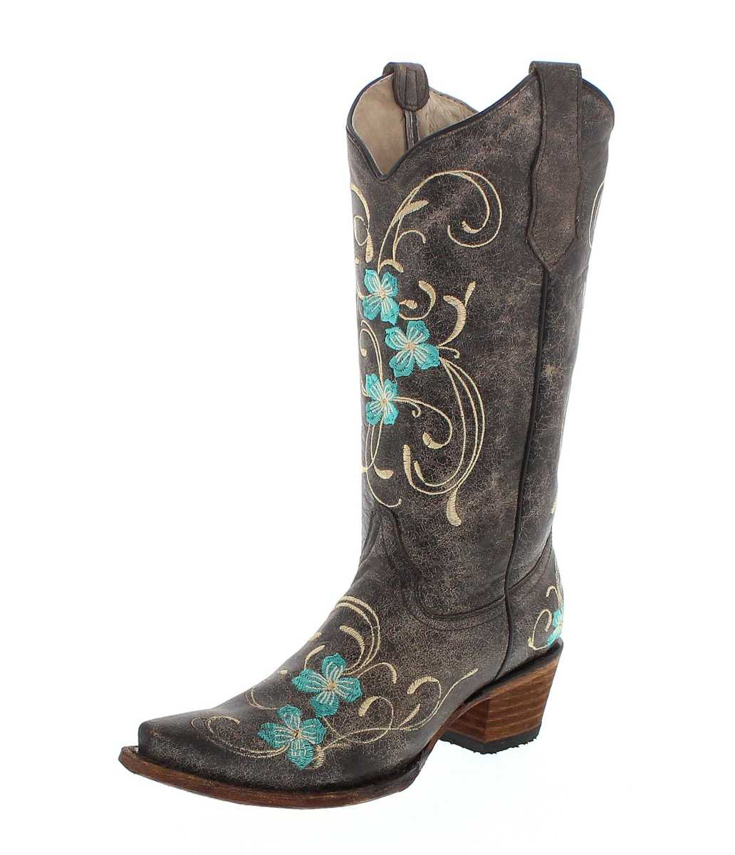 Circle G by Corral Boots L5255 LD Brown Turquoise Western boot - brown turquoise