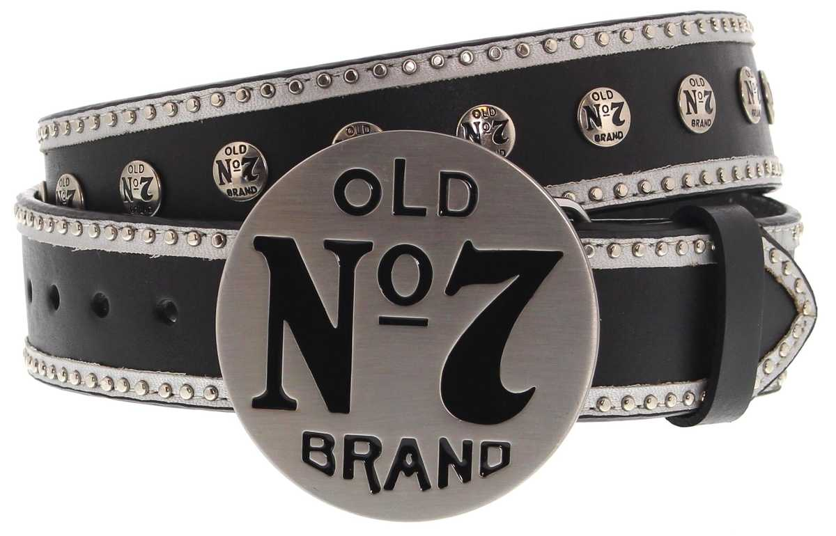 Jack Daniels 1611JD Black leather belt - Black