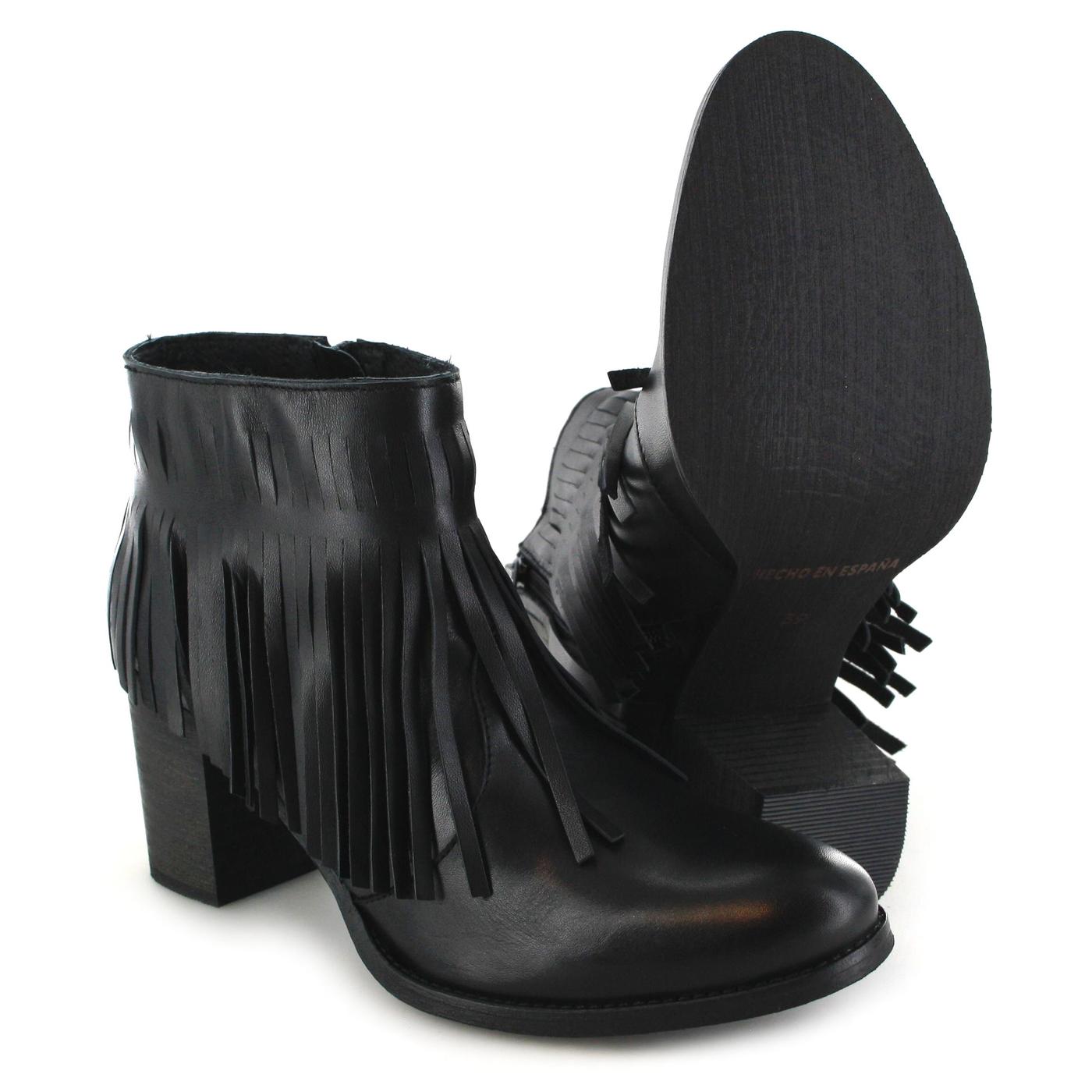 Fw1013 Boots Stiefelette Mit Damen Fashion Fransen Fb Negro Schwarz PZikXu
