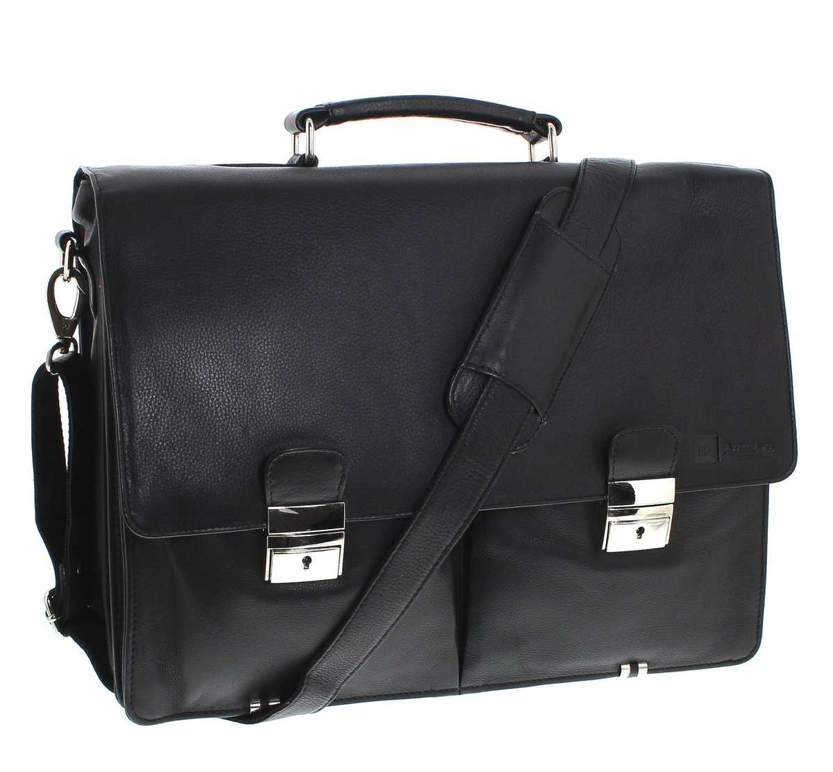 Fashion Boots FB Bags 882 Business Bag Black Ledertasche