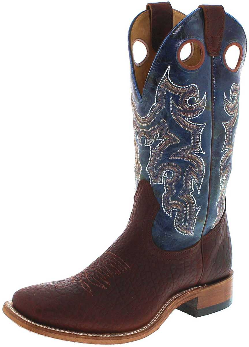 Boulet 6370 E Bison Whisky Turqueza western riding boot - brown turquoise