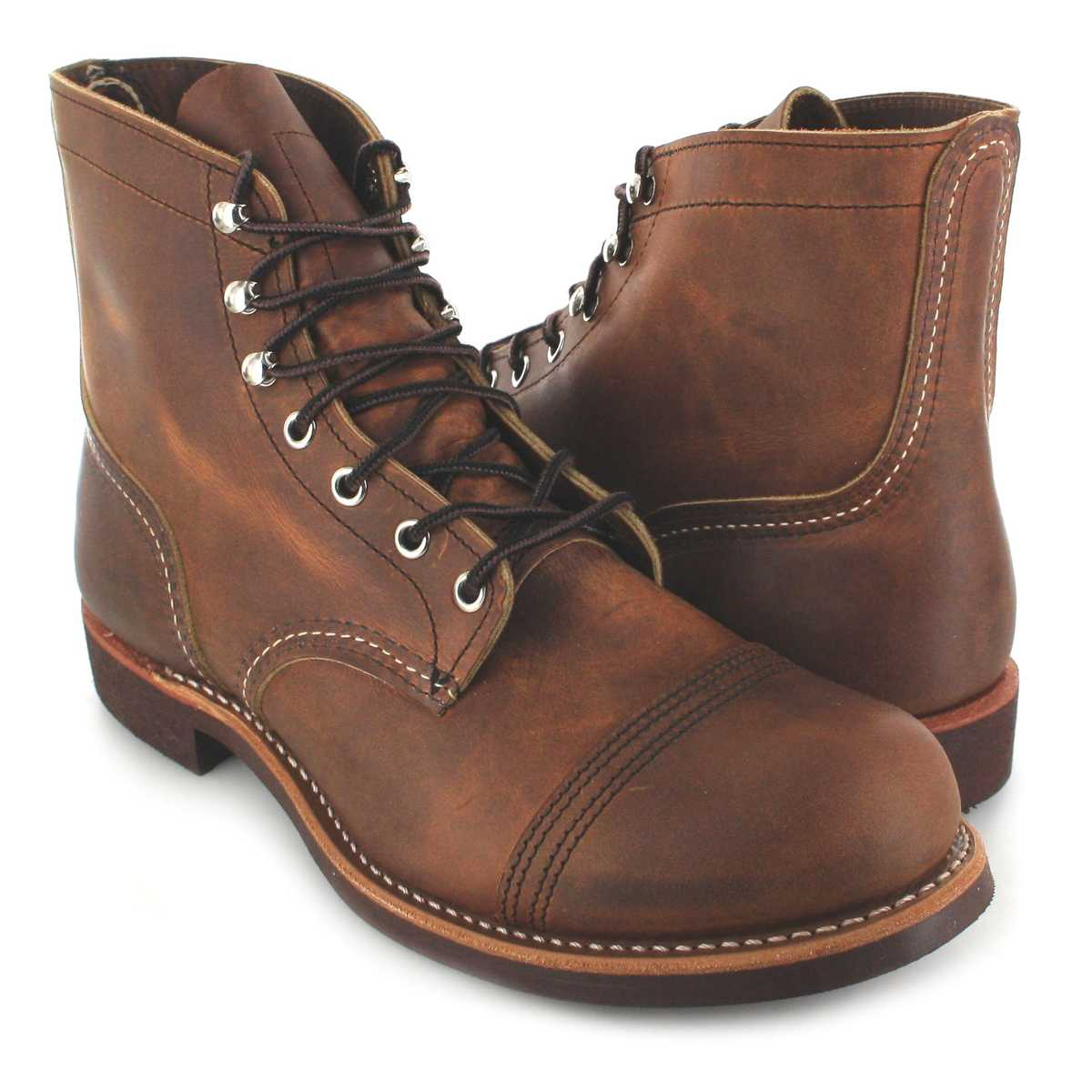 Red Wing Shoes Iron Ranger 8085 Copper Lace Up Boots Brown