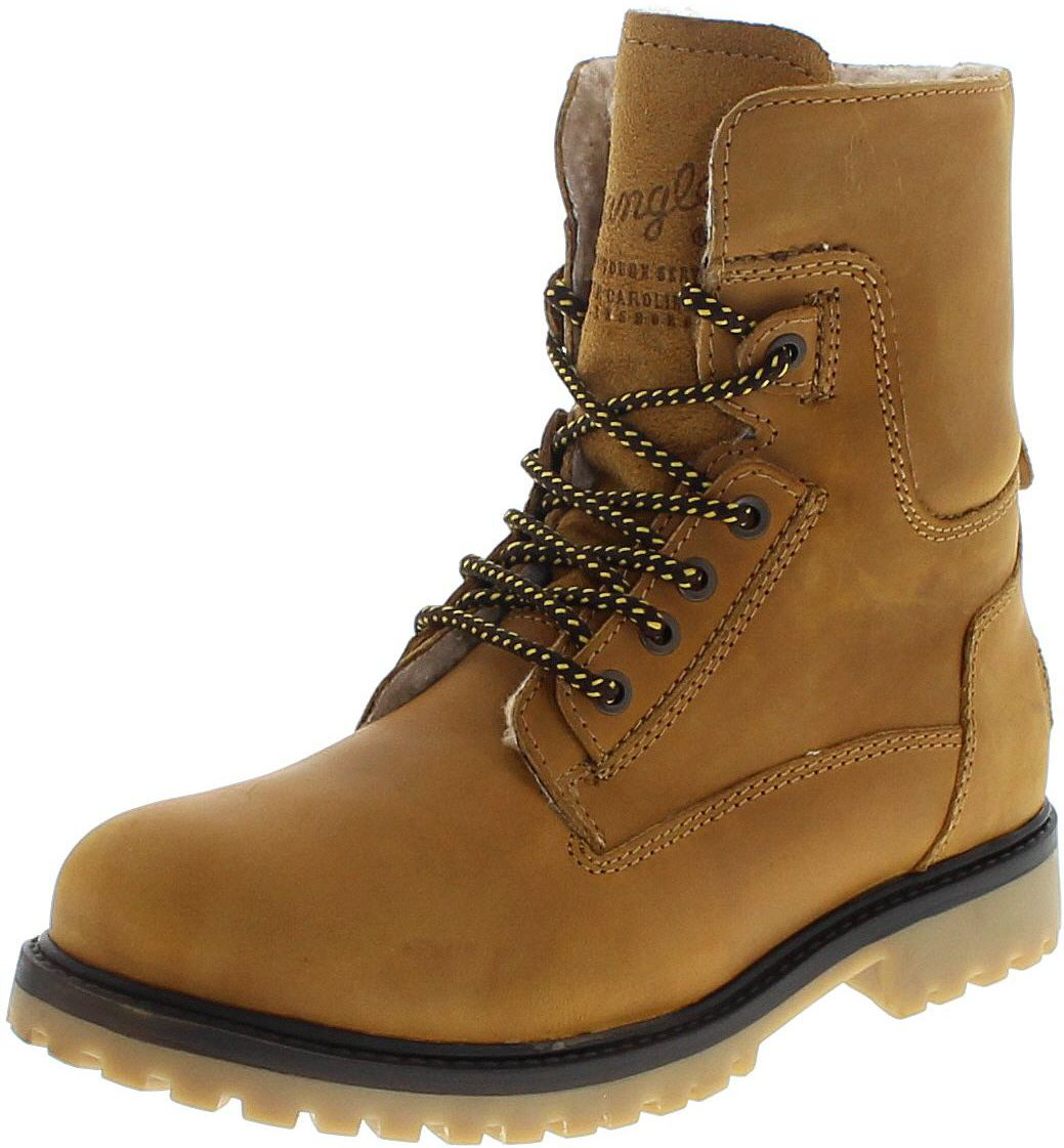 Wrangler AVIATOR WM122785K Camel laced-up boots with Tedy fur lining - brown
