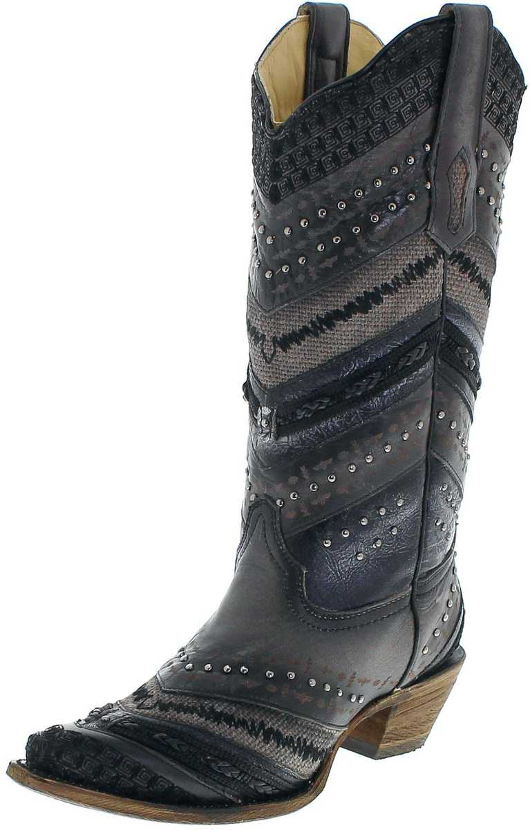 Corral Boots A3355 Grey Embroidery & Studs westernboots - black