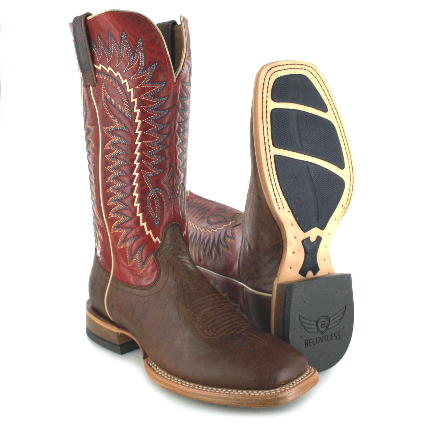 41f1569becb Ariat RELENTLESS ELITE 21673 Dust Devil Tan True Red Western riding boot -  brown red