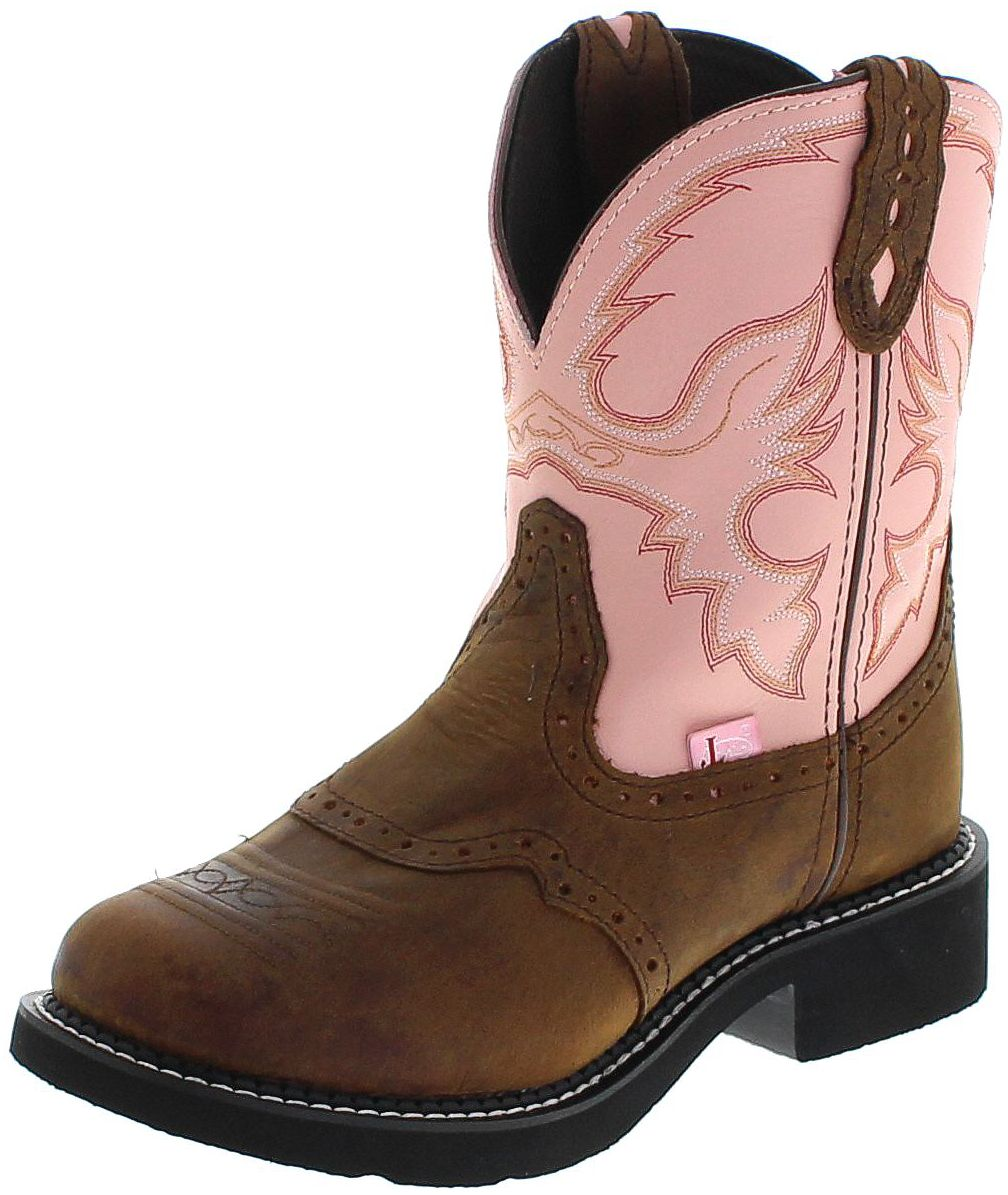Justin Boots L9901 Pink Apache Western Cowboy boots for Women