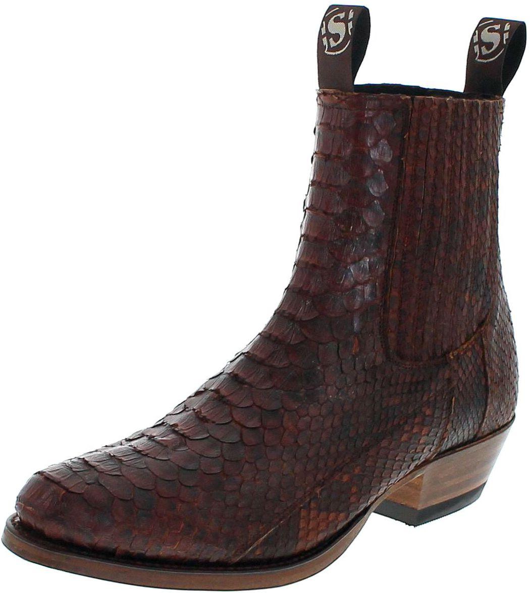 Sendra Boots 1692P Exotic Westernstiefelette aus Vollpythonhaut matt - braun