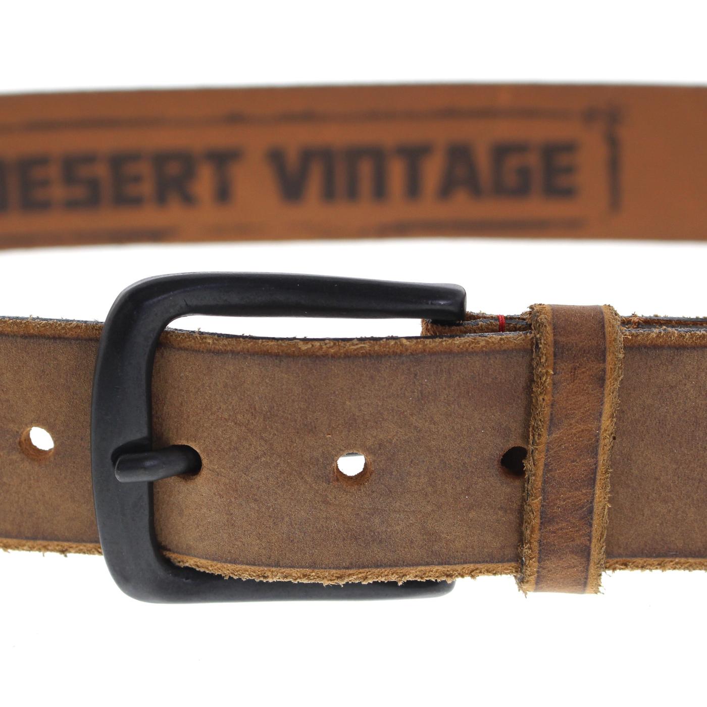 Strong Desert Vintage VV285 Ledergürtel in Cognac, Stahlgrau und Schwarz
