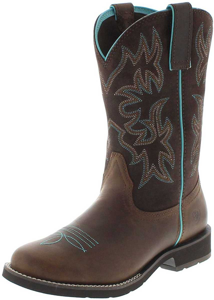 21457 DELILAH ROUND TOE Distressed westernridingboot - brown