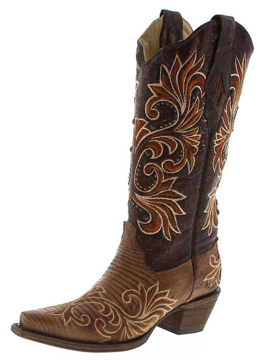 Coral Boots A3328 Brown Lizard Damen Exotic Westernboots - brown