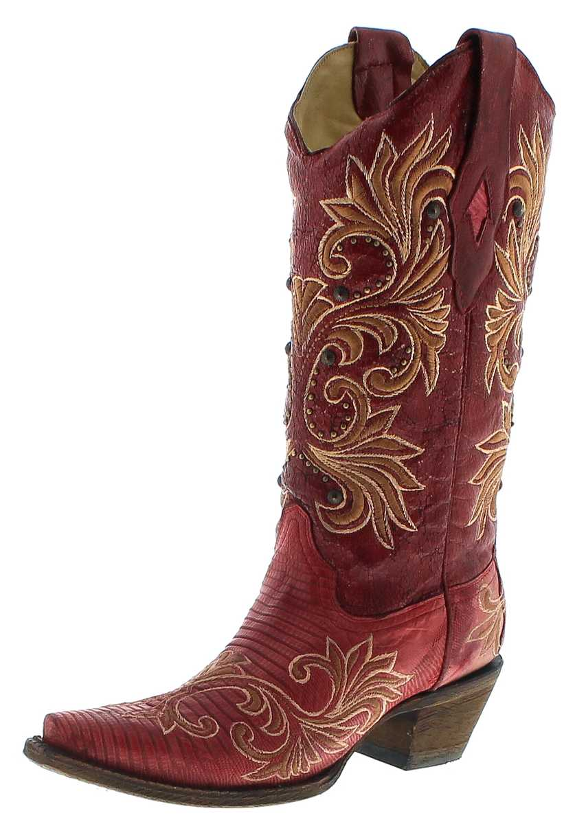 Corall Boots A3378 Red Lizard Damen Exotic Westernboots - red