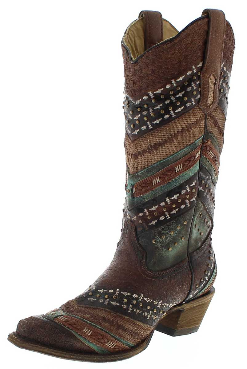 Corral Boots A3381 Turquoise Brown Western boots - brown