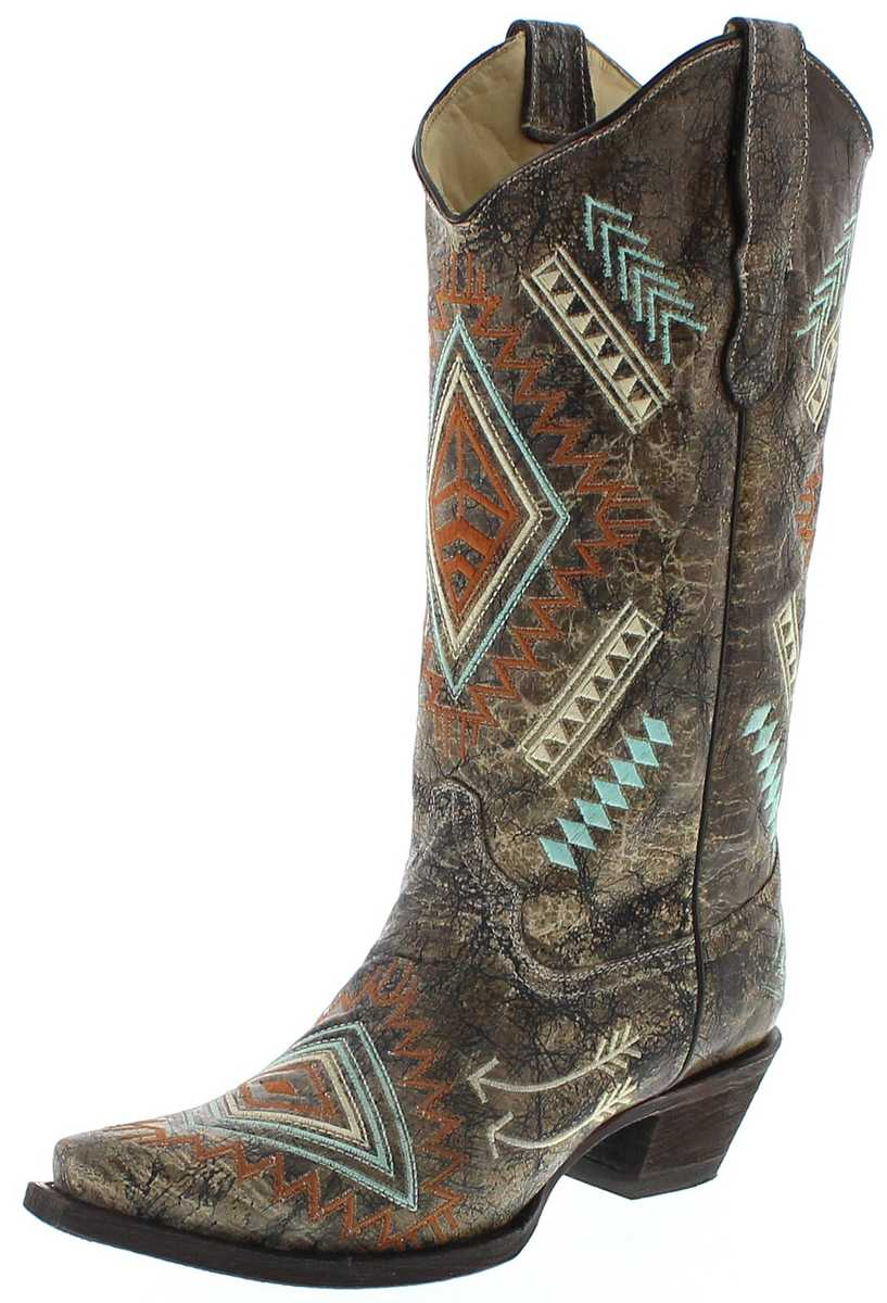 Corral Boots E1037 Bone Multi Color Ladies Western Boots - brown