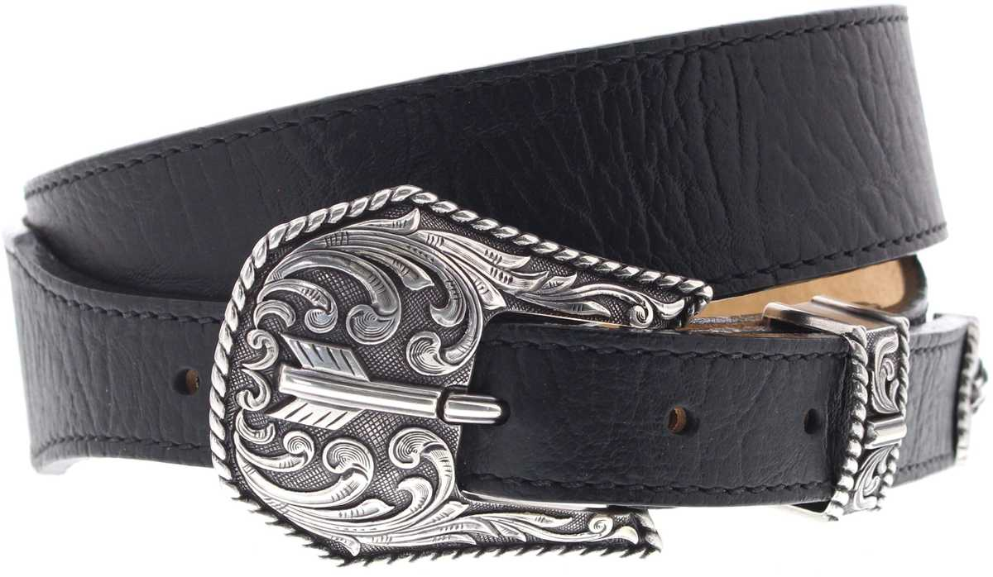 Justin Belts C13743 Black Broken Arrow Western Belt - black