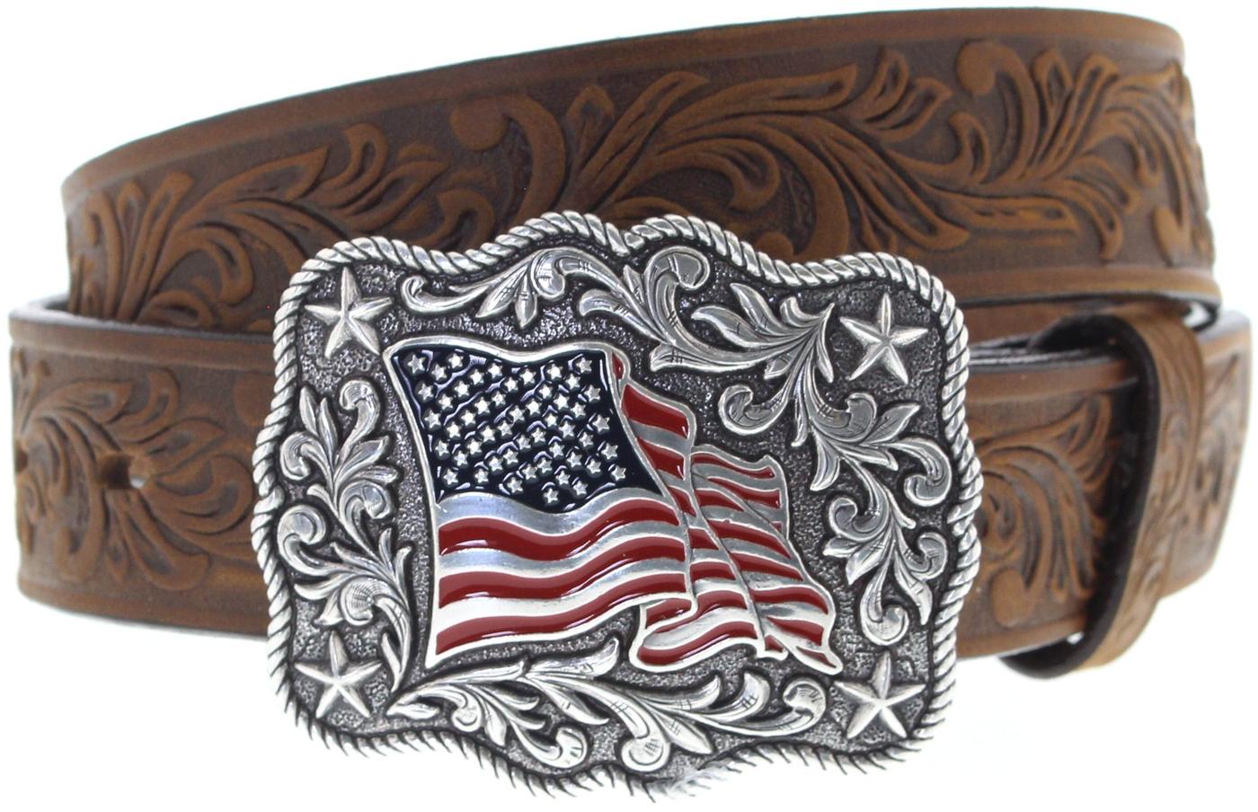 Justin Belts C30219 Brown American Pride Belt - brown