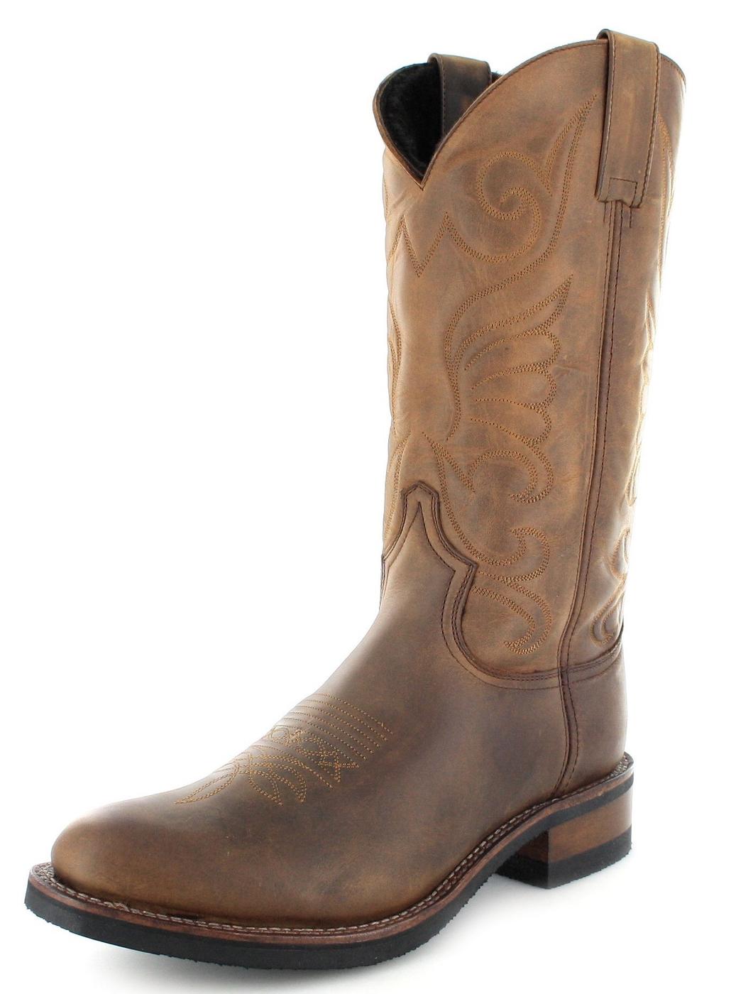 Sendra Boots 9263 Tang Damen Westernreitstiefel mit Merinofell Futter - braun