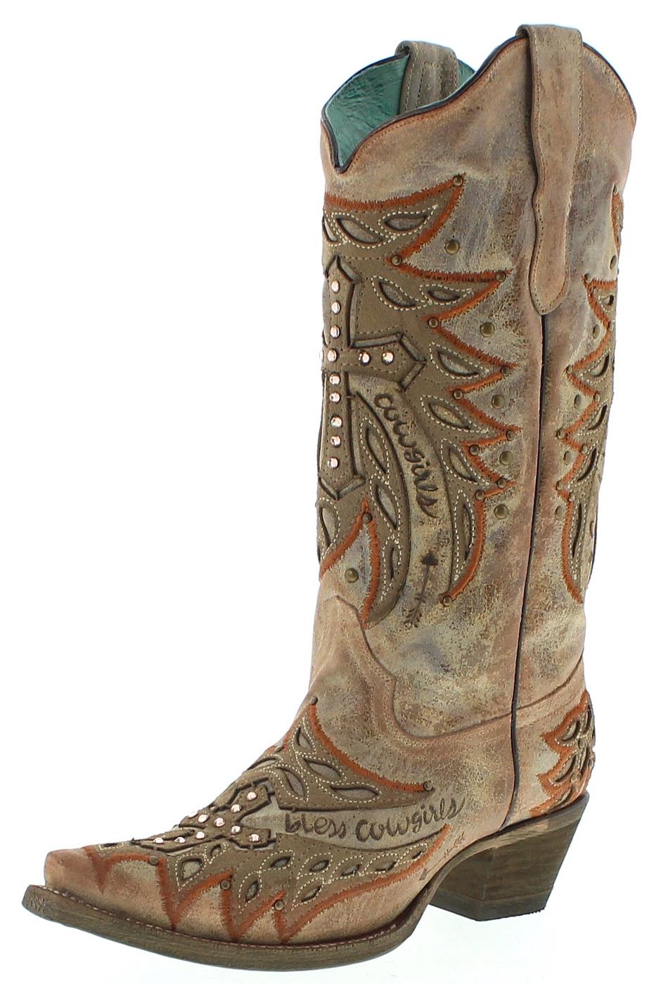 Corral Boots E1346 Bone Ladies western boots - beige