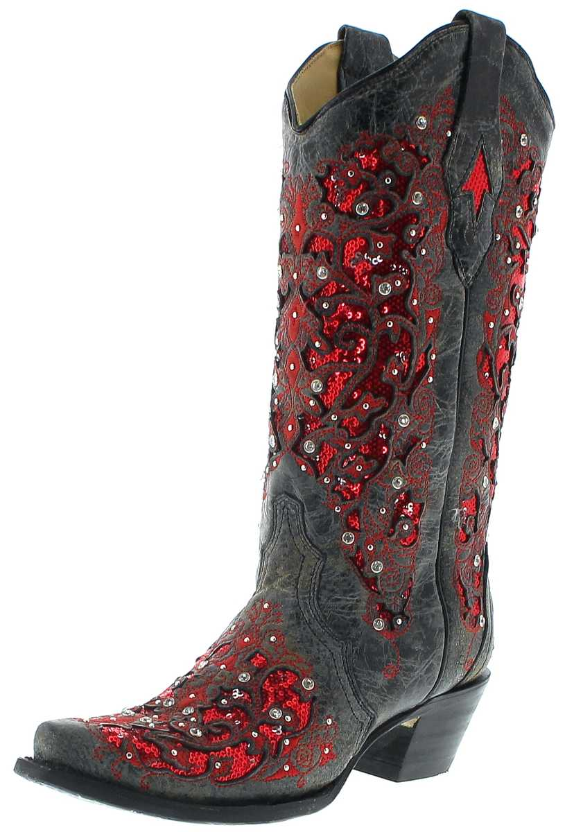 Corral Boots A3534 Black Red Ladies Western Boots - black