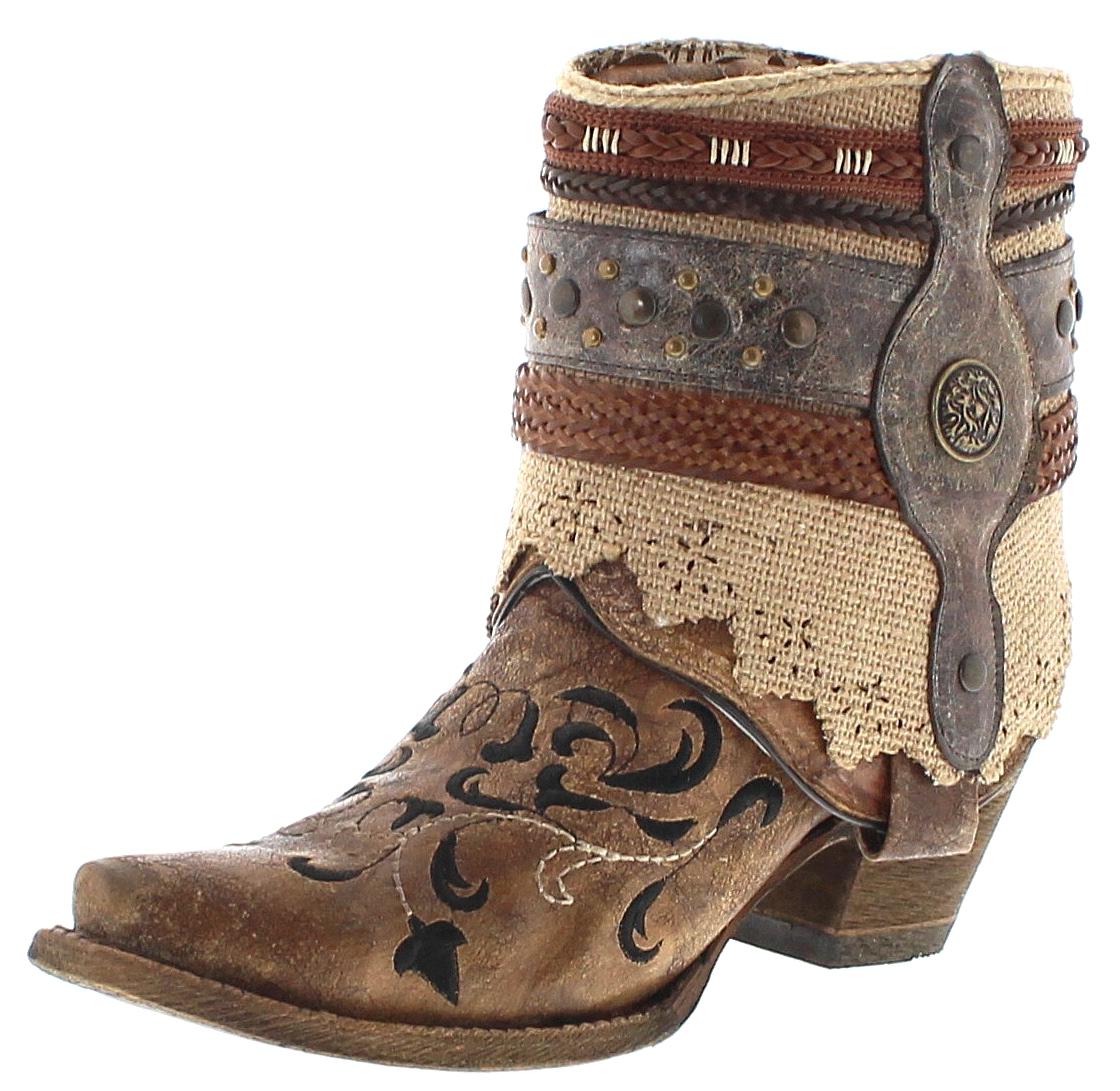 Corral Boots A3463 Cognac Women's Western Ankle Boot - cognac