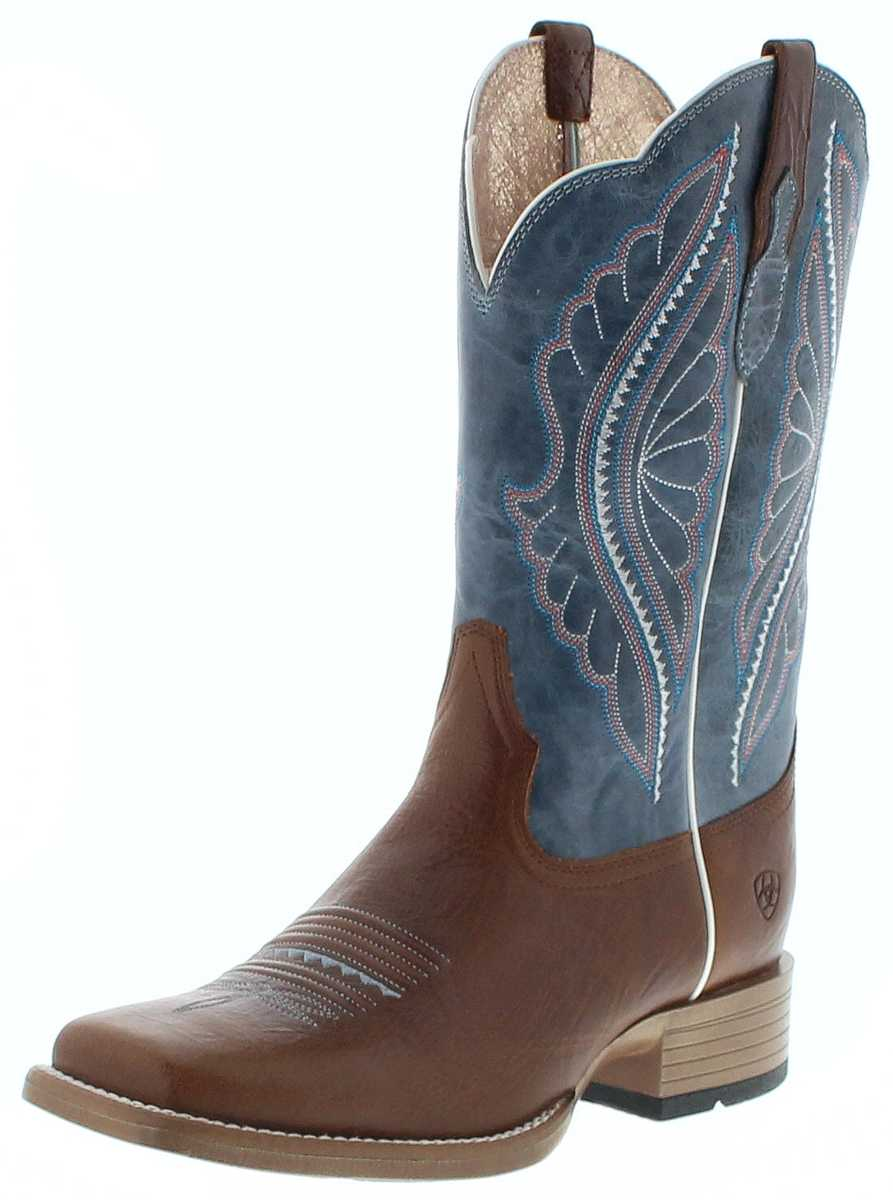 Ariat 25032 PRIMETIME Ginger Baby Blue Womens Western Riding Boots - brown