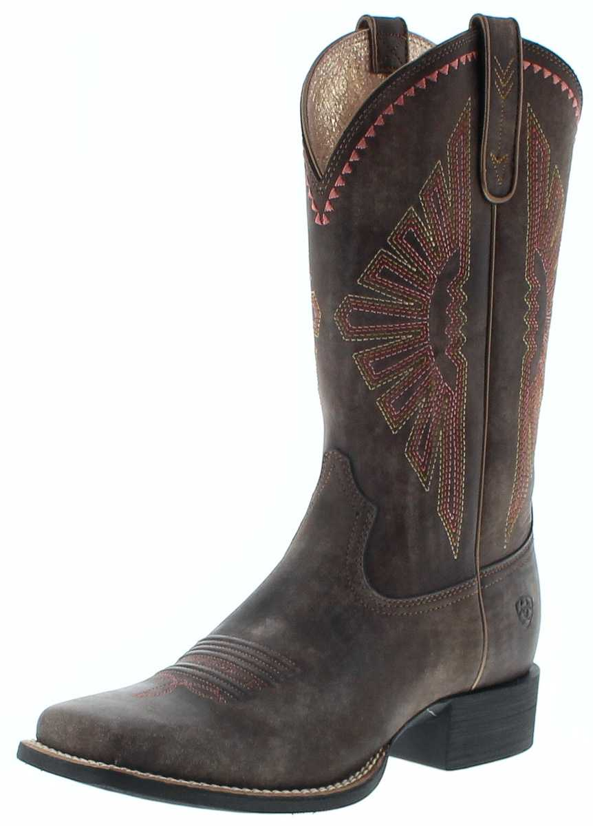 Ariat 25038 ROUND UP RIO Brown Womens Western Riding Boots - brown